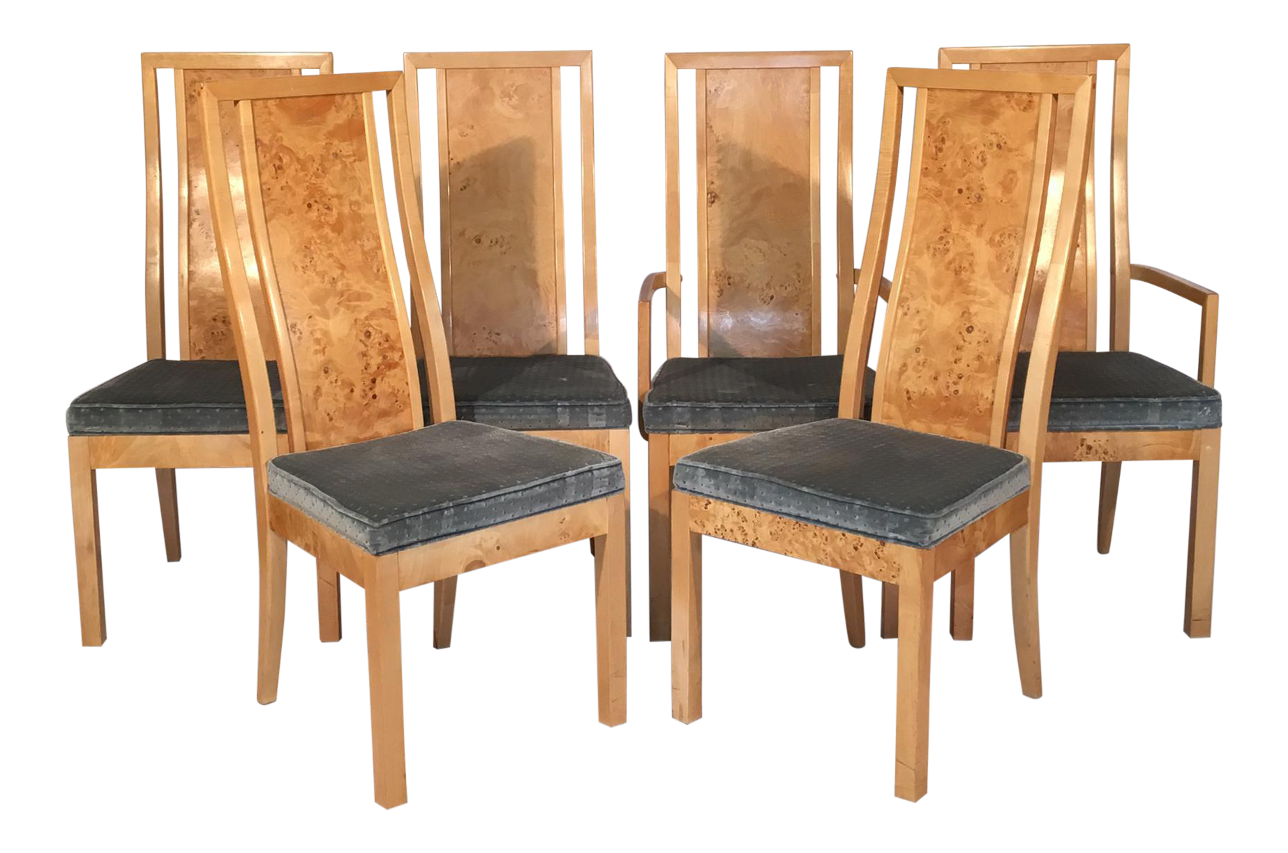 Set Of 6 Light Burlwood Chairs With Velvet Upholstered Seats Includes 2 Arm Chairs And 4 Side Chairs Excellent Vintage Dining Chairs Chair Upholstered Seating