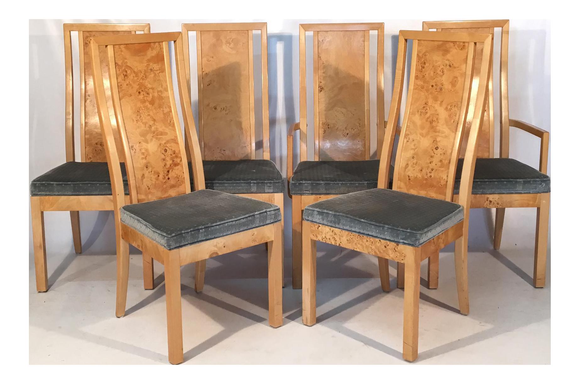 set of 6 light burlwood chairs with velvet upholstered seats rh pinterest com Burlwood Cigar Chair Burlwood Tables Chairs