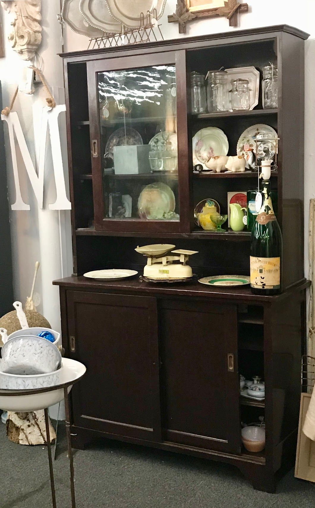 Antique Cabinet On Sale Sliding Old Bubble Glass Doors On Top Great