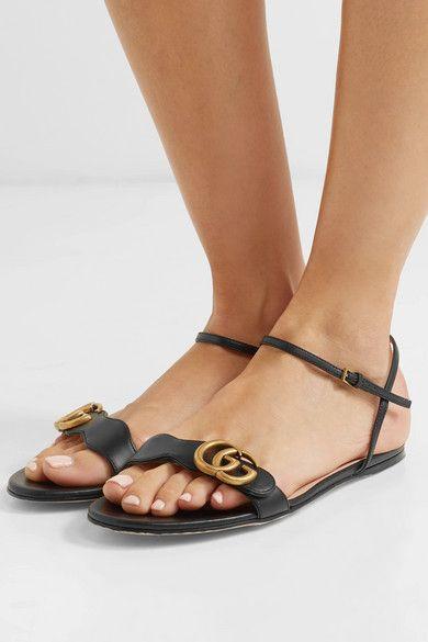 5520533cc Gucci | Marmont logo-embellished leather sandals | NET-A-PORTER.COM ...