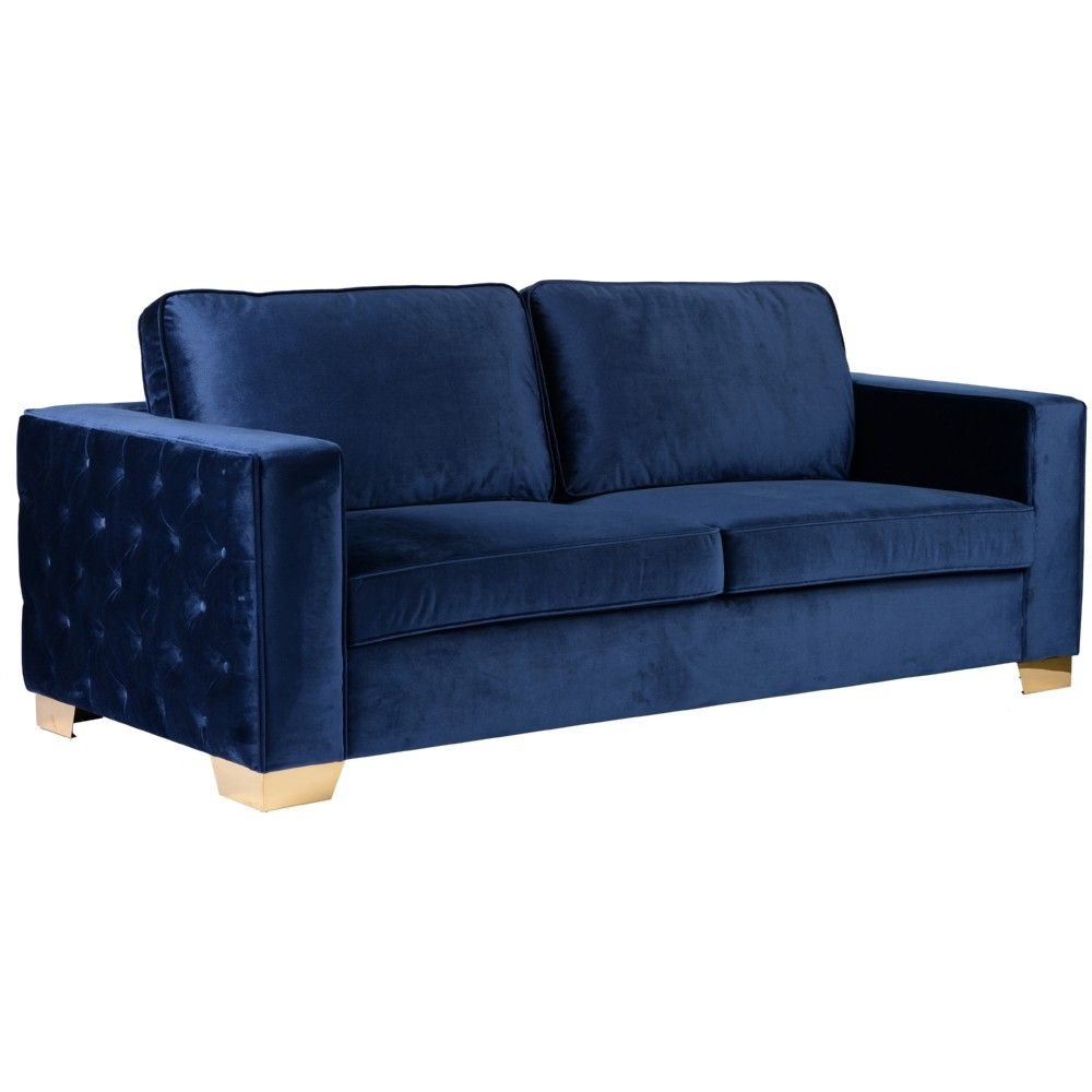 Best Isola Sofa In Blue Velvet W Tufted Sides On Gold Metal 400 x 300