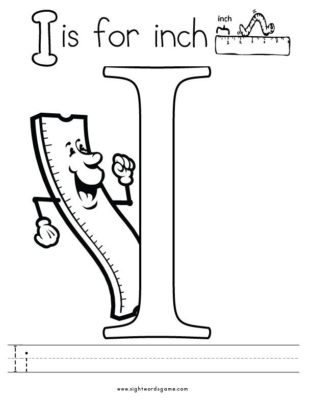 Letter i coloring page 2