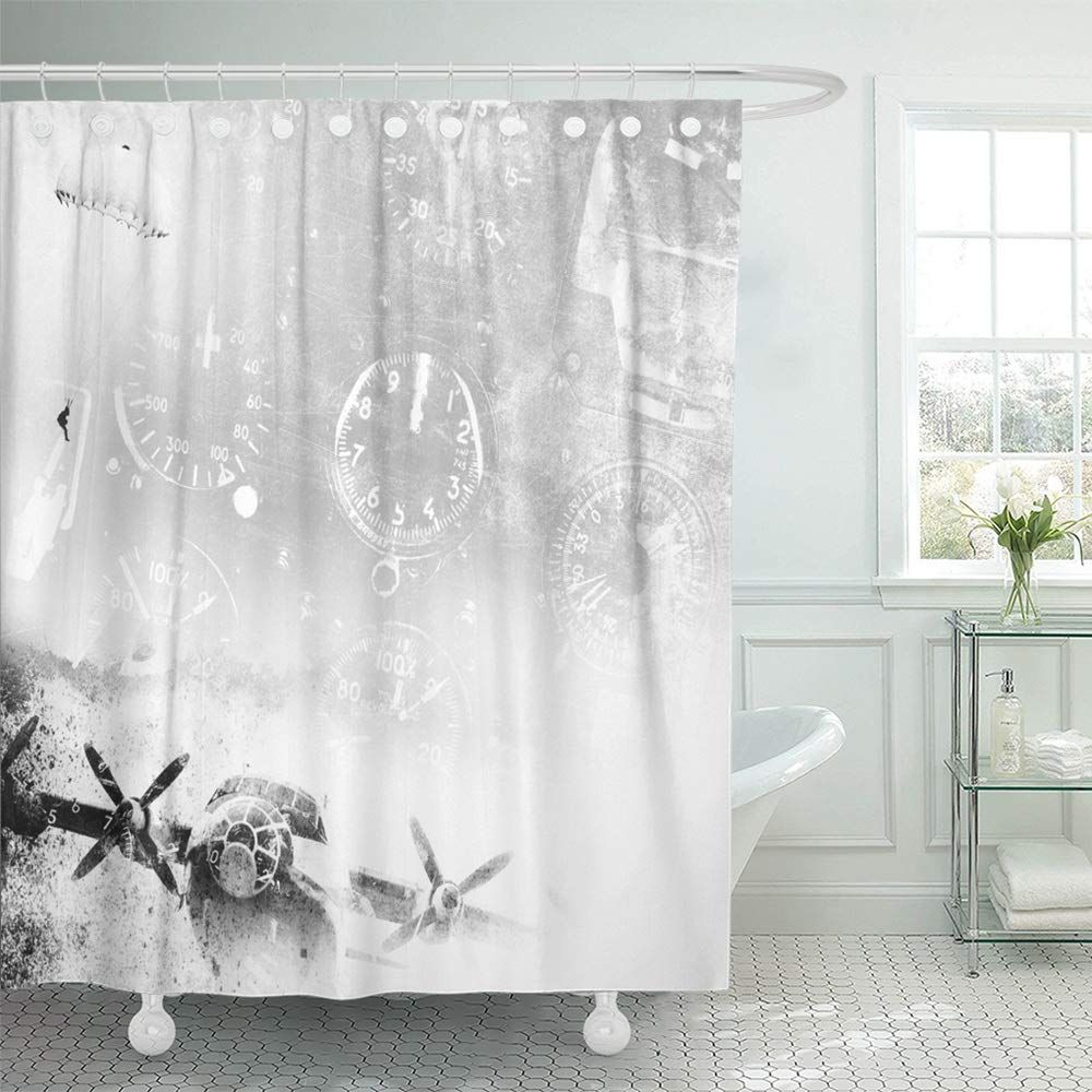 Emvency Shower Curtain Waterproof Adjustable Polyester Fabric Brown War Aviation Grunge Army Military Vintage Plane Old Curtains Shower Curtain Vintage Planes