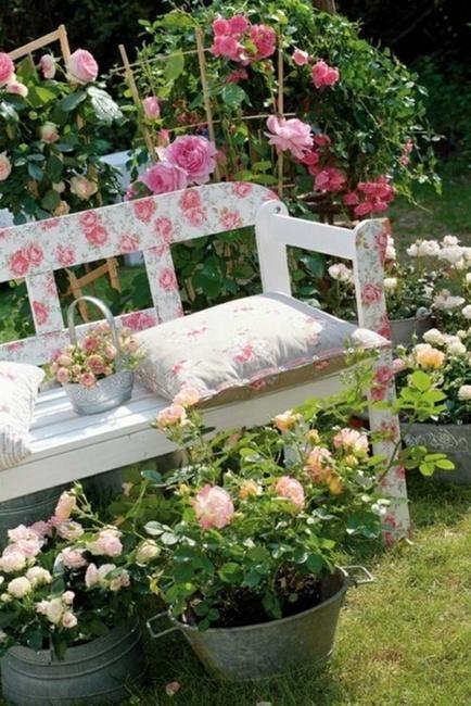 In A Rose Garden Vintage Pillows Match Floral Design On Garden Bench Beautiful Gardens Shabby Chic Garden Shabby Flowers