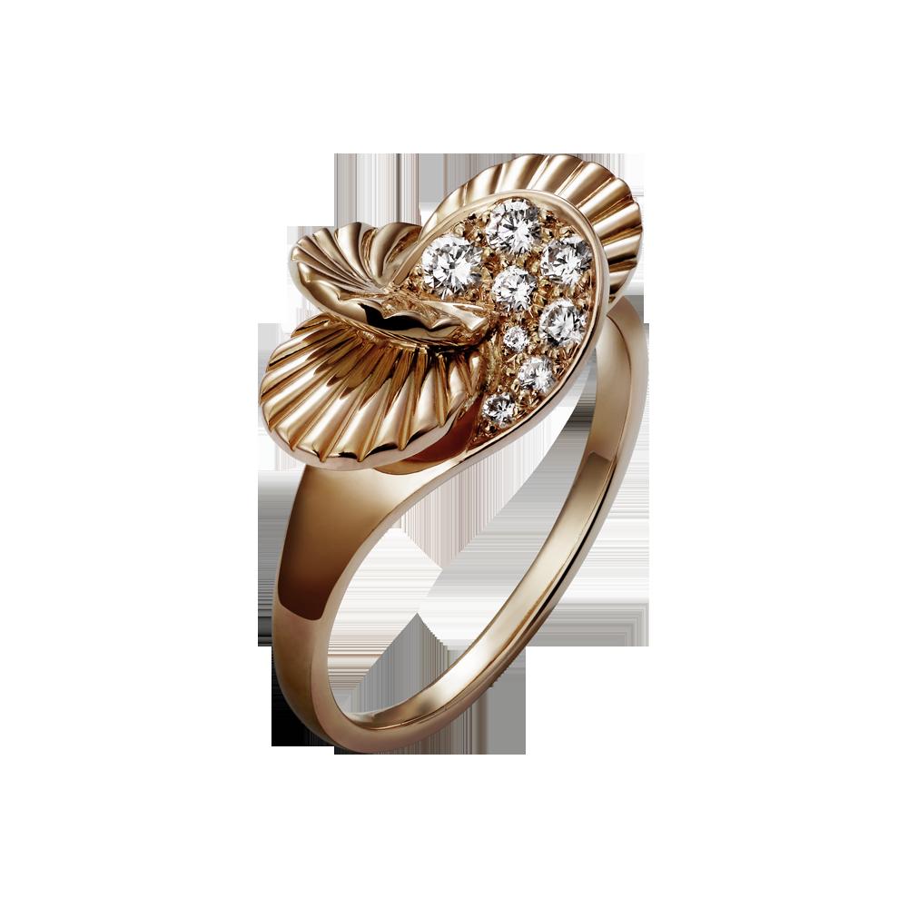 Paris nouvelle vague ring small model pink gold diamonds fine