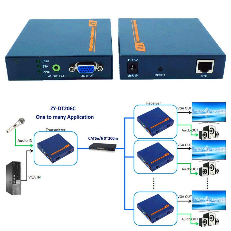 DT206C 660ft Network VGA Over IP Audio Splitter Extender By