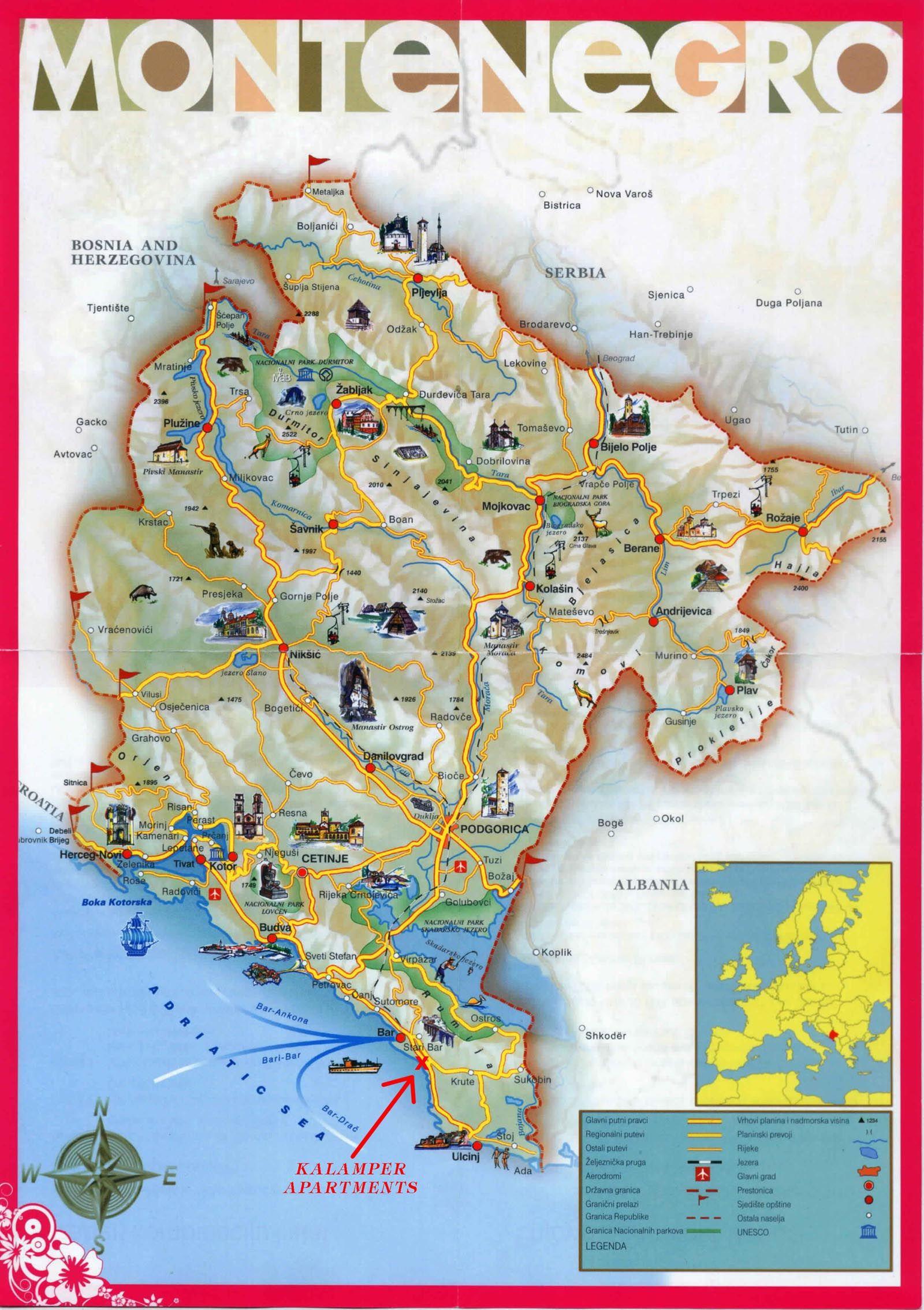 Montenegro Tourist Map Mappery Montenegro Travel Montenegro Map