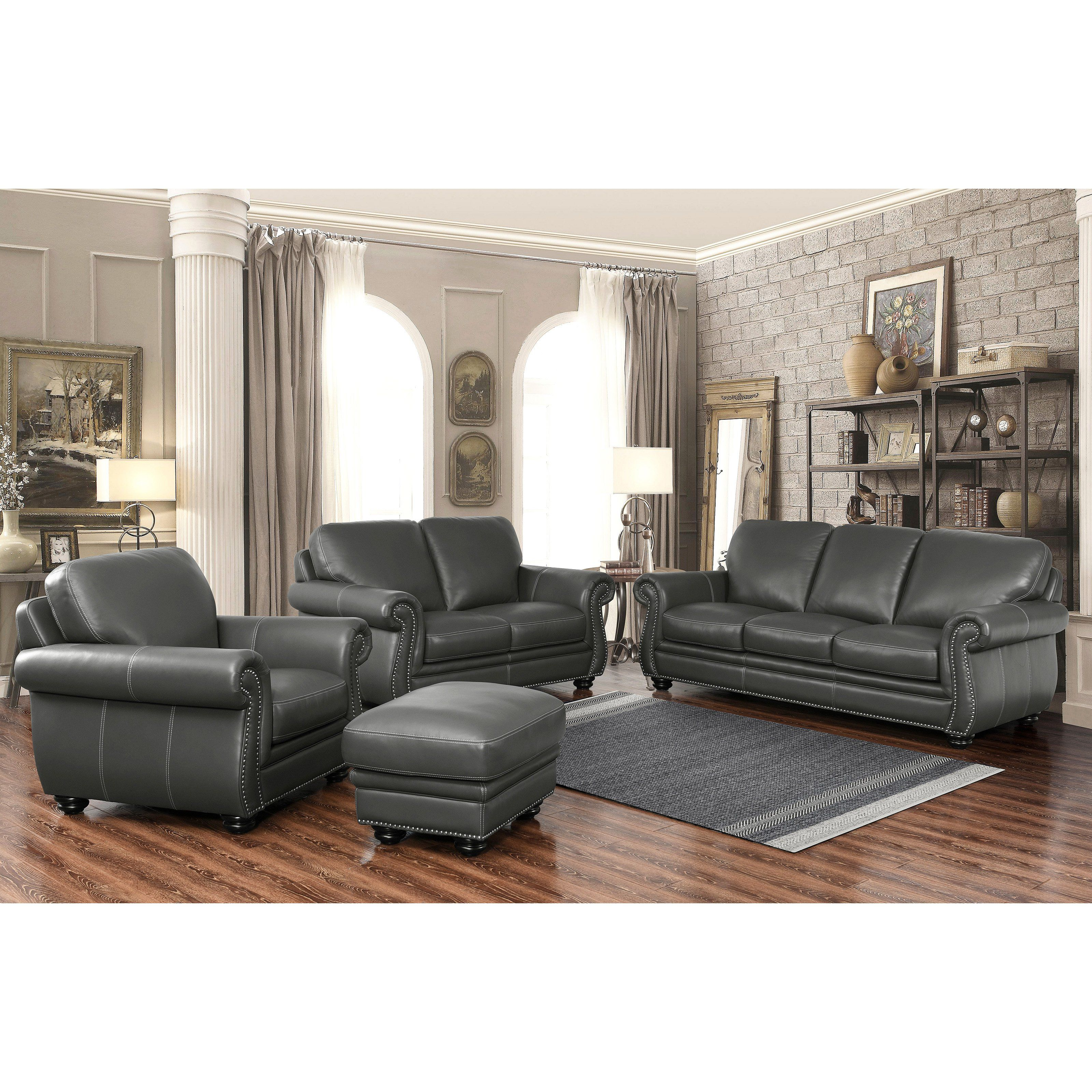 2293 Best Images About Leather Sofas And Living Room: Abbyson Dasher Grey Top Grain Leather Sofa Loveseat