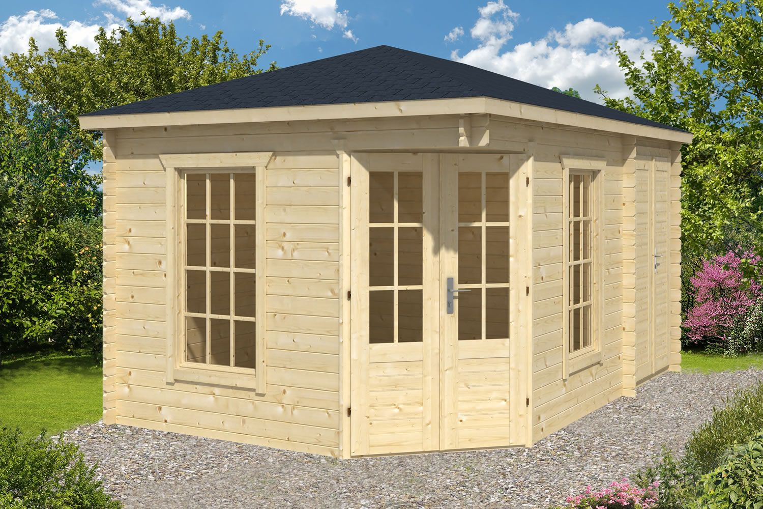 Corner Sheds Sigrid Corner Log Cabin With Shed New Style
