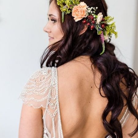 Peach and yellow with red berries wedding flower crown by Albedo Floral.