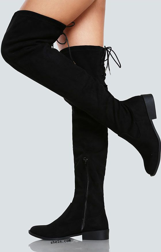 Faux Suede Back Lace Up Thigh High Boot