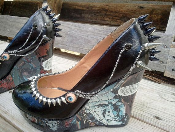 Hellraiser comic wedge heels w spikes n chains... luuuvvvvv.. but ...