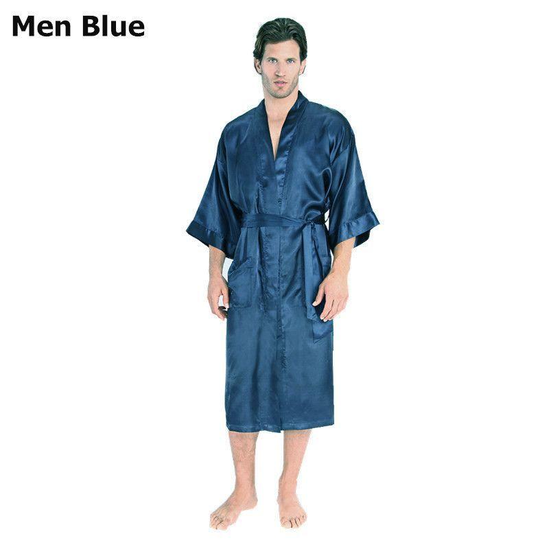 Mens Womens Plus Size Long Satin Bath Robe Sexy Kimono Silk Bathrobe Men  Peignoir Homme Dressing Gown for Men Summer Robes 5cbe1ffcc