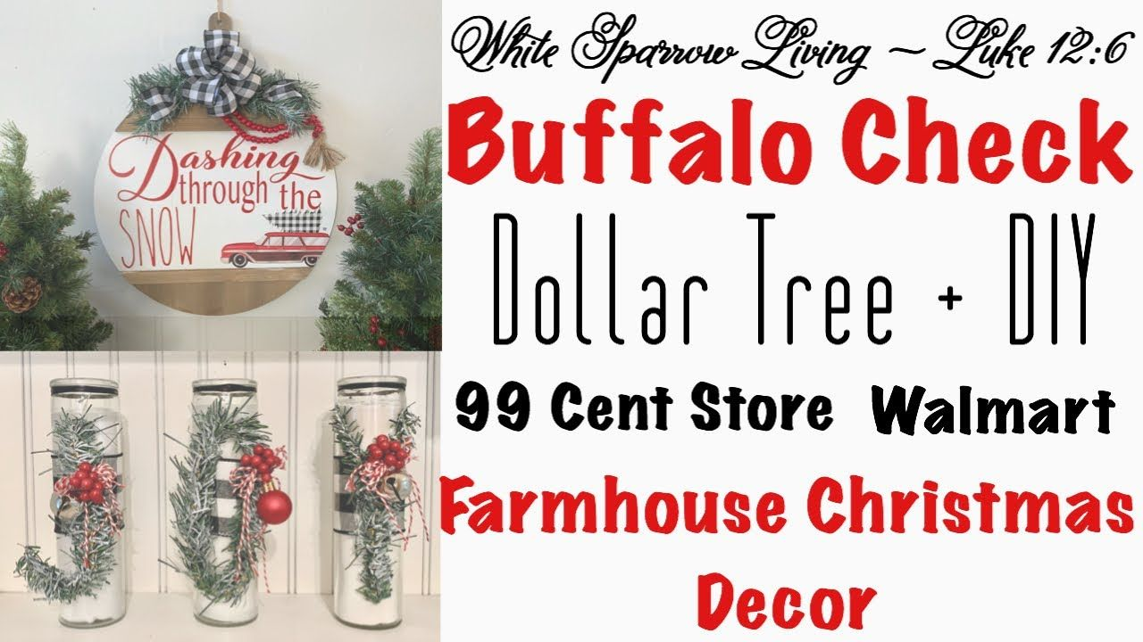 2 Diy Dollar Tree 99 Cent Store Buffalo Check Farmhouse Christmas Decor Projects Youtube Farmhouse Christmas Decor Farmhouse Christmas Dollar Tree Diy