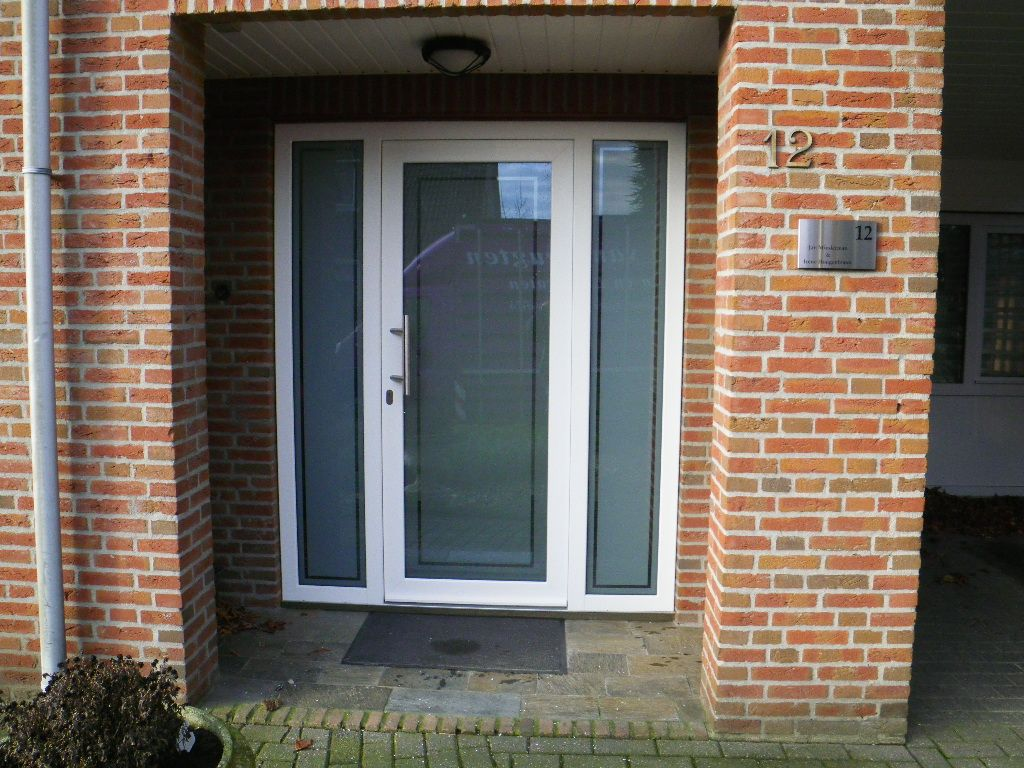plastic front door, with sandblasted glass with clear …