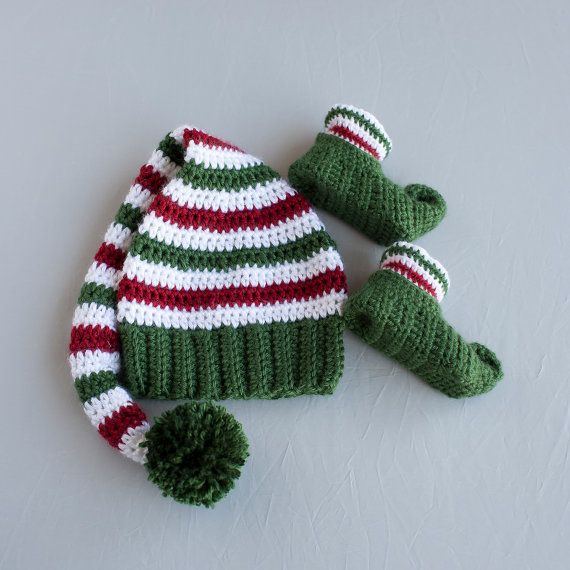 Boy Elf Set, Crochet Elf Set, Elf Hat and Shoes, Christmas Hat, Elf ...