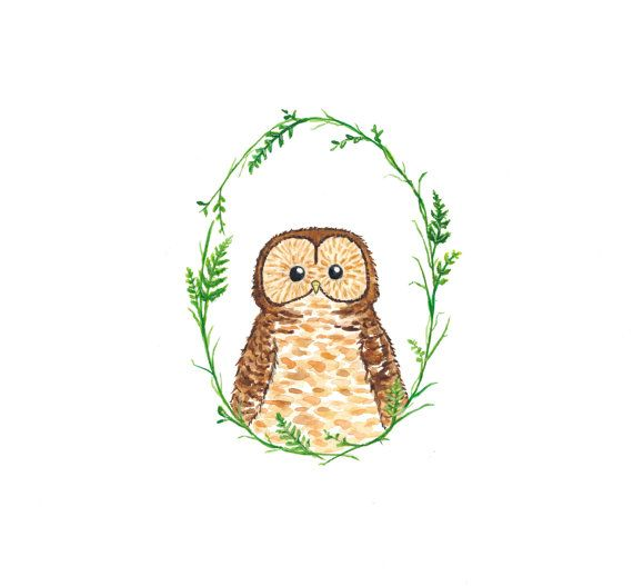 Owl - Original Watercolor Painting on Etsy, £15.34
