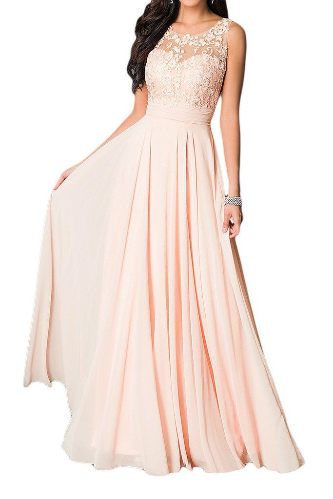 Missdressy Damen Elegant Chiffon Charmeuse Applikation ...