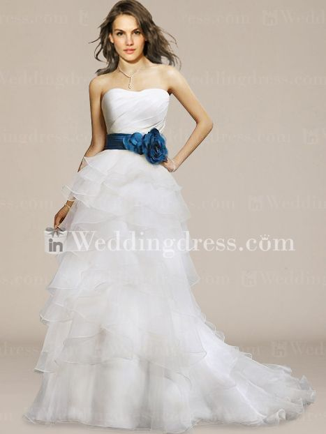 Ruffled A-Line Strapless Organza Chapel Train Wedding Dress BC216