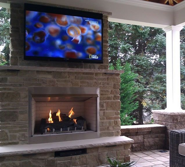 Gas fireplace and Backyard