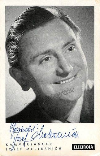 Signed promo photo of the German baritone (1915-2005), shown as himself. Size 3.5 x 5.5 inches.