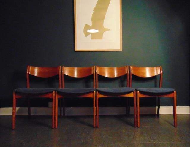 A Set Of Four Vintage Danish Teak Dining Chairs Designed In The 1960s By P E Jorgensen For Farso Stolef Teak Dining Chairs Danish Dining Chairs Dining Chairs