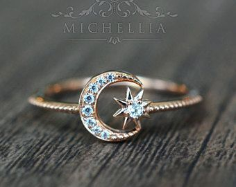 Solid Gold Diamond Moon And Star Ring Promise Engagement Galaxy