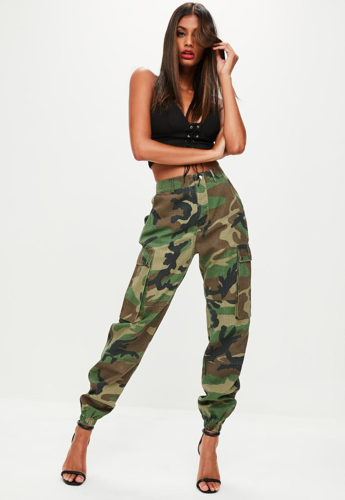 66e89bdc73690e Khaki camo pants featuring two side pockets with button fastening,  elasticated cuff, two back pockets and belt loops.