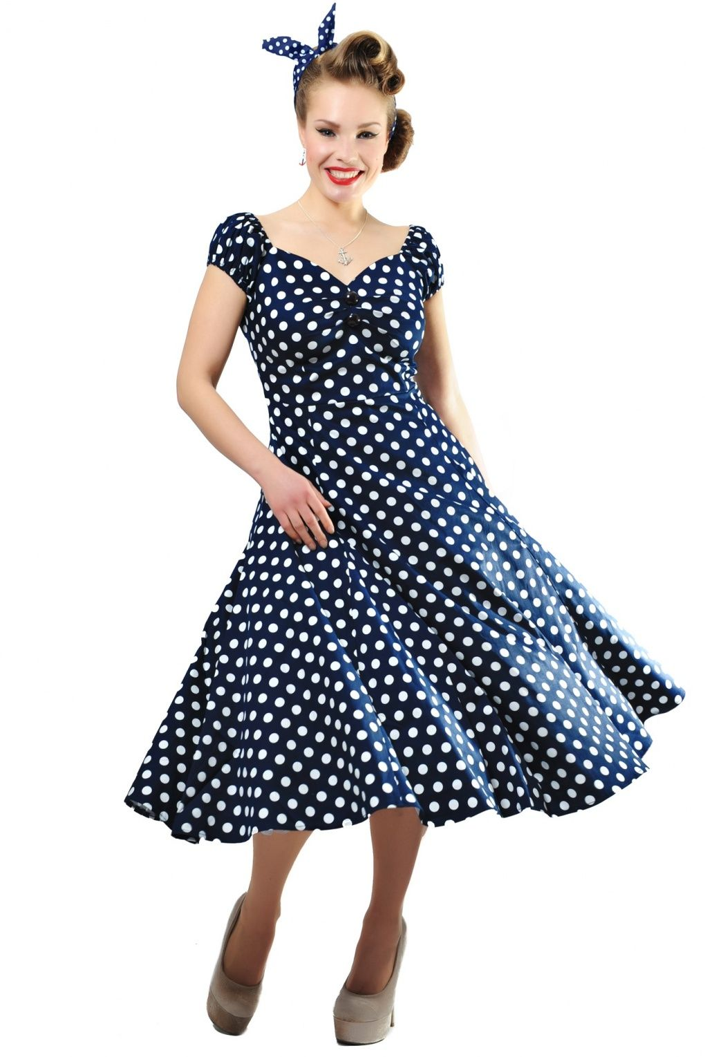 766337489f1108 Collectif Clothing - 50s Dolores Doll dress Navy White polka swing dress