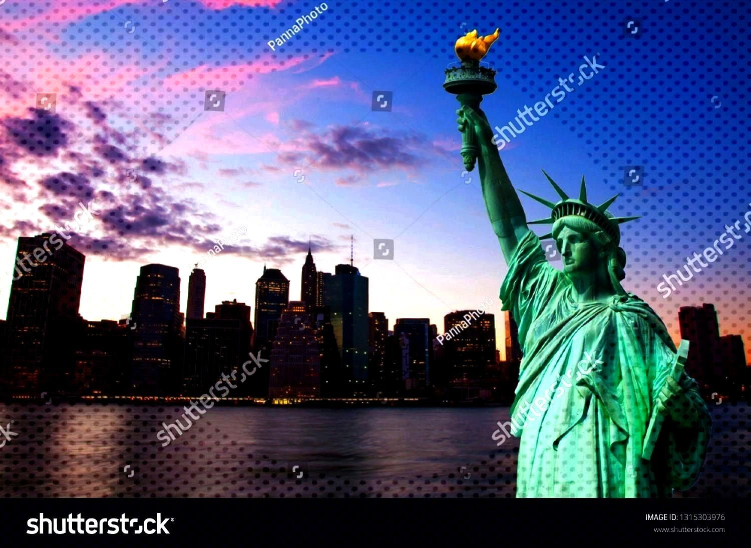Liberty and New York Skyline together ,Statue of Liberty and New York Skyline together , Free art