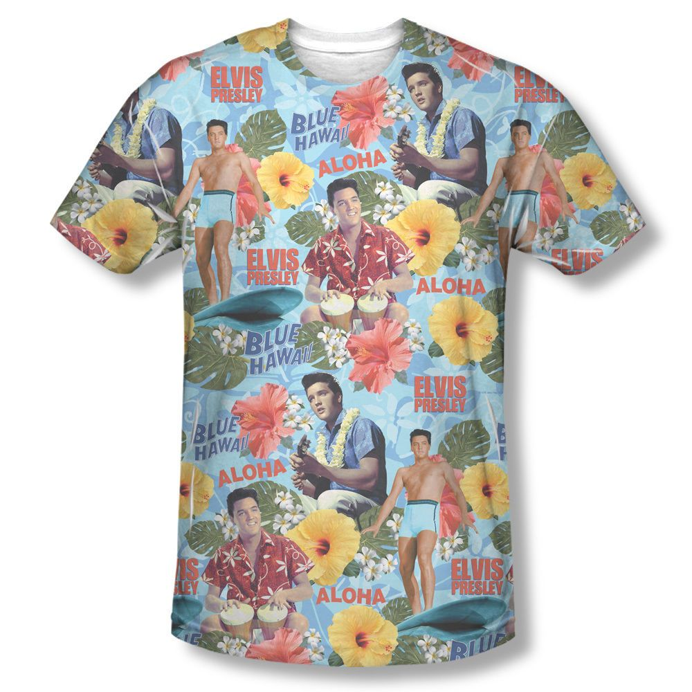 3a0139c56f5fc Elvis Surf s Up Blue Hawaii Aloha The King Sublimation Front Only T-shirt  Top Mens Sizes  S