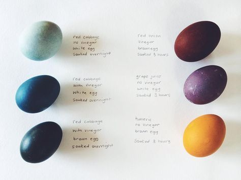 I made this Easter egg natural dye chart a few years ago so I could remember each year how I achieved the colors. You can read next to each egg the dye type, the color of the egg brown/white, vinegar or no vinegar, and the soak time. You will find this and further details for naturally dyeing eggs if you search { naturally dyed eggs } on our journal. You can throw some fabric or yarn into the dye pots too! Note: the top right should say onion skins!