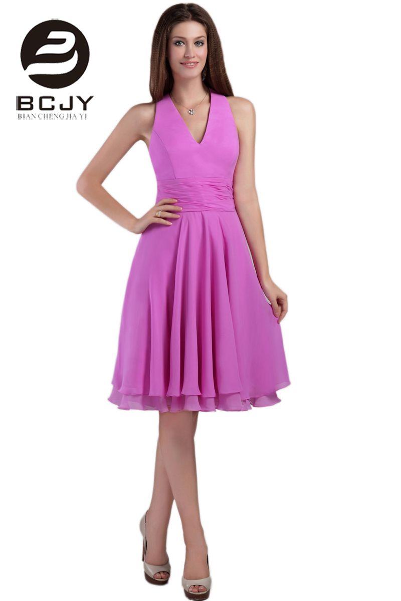 Click to buy ucuc sexy v neck blue short prom dresses knee length