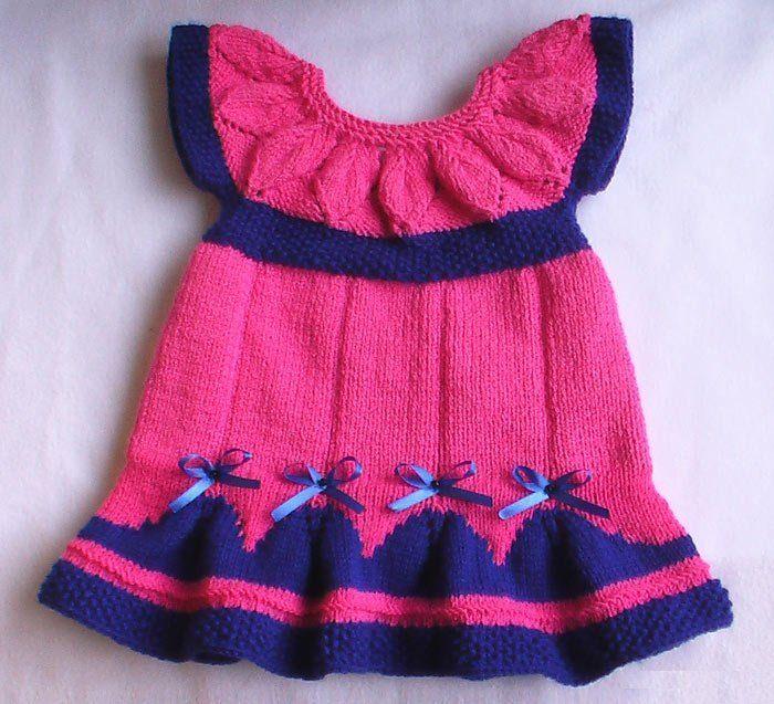 Связать платье на спицах на новорожденную
