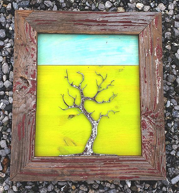 metal tree sculpture with handmade rustic frame. by hawklinedesign ...