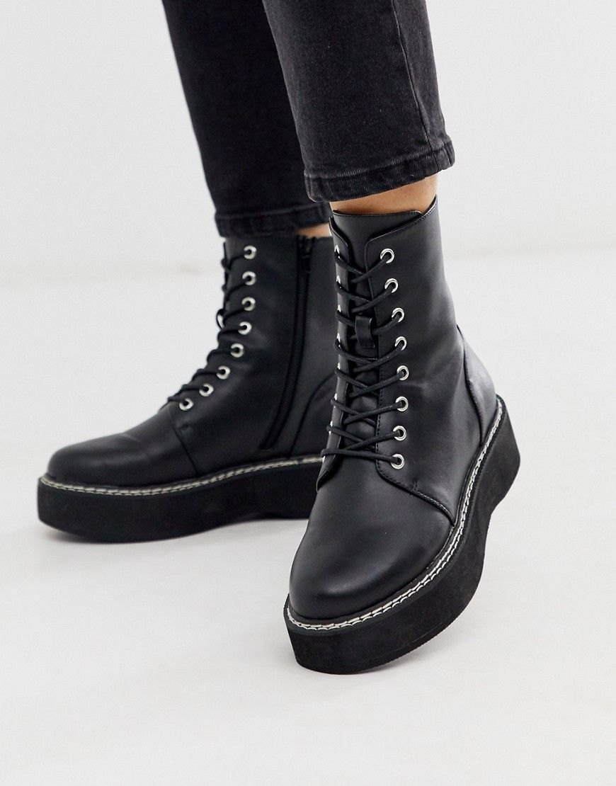 ASOS DESIGN ALVA CHUNKY LACE UP BOOTS