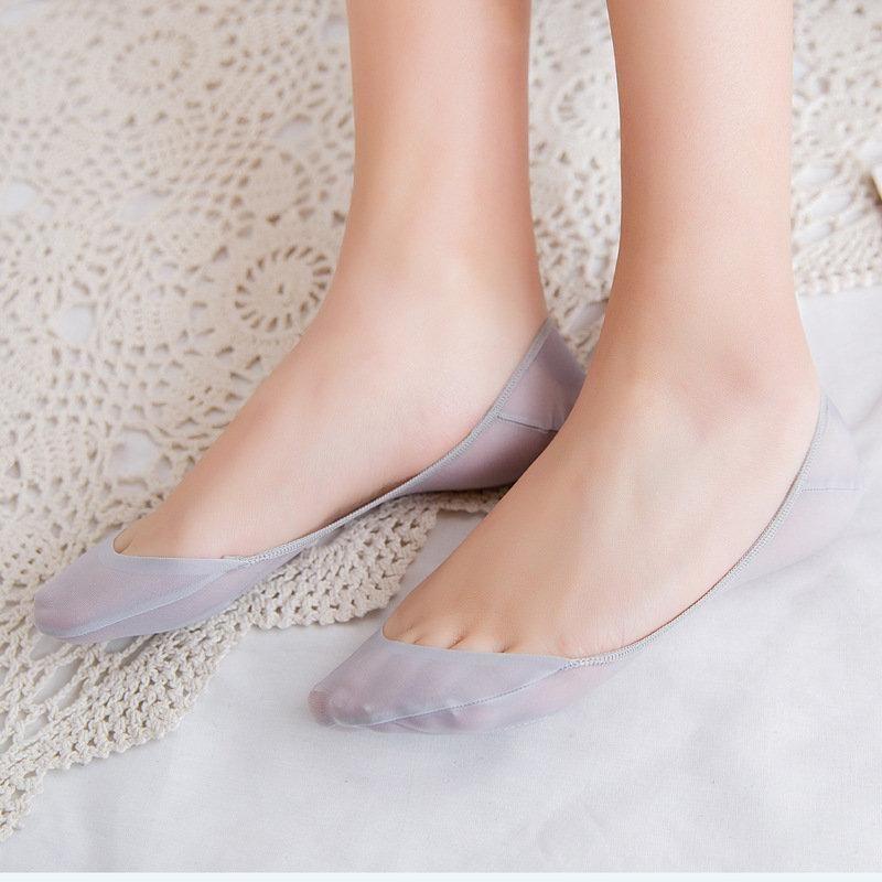 Women Cotton Blend Lace Antiskid Invisible Low Cut Socks Toe Ankle Soc FS