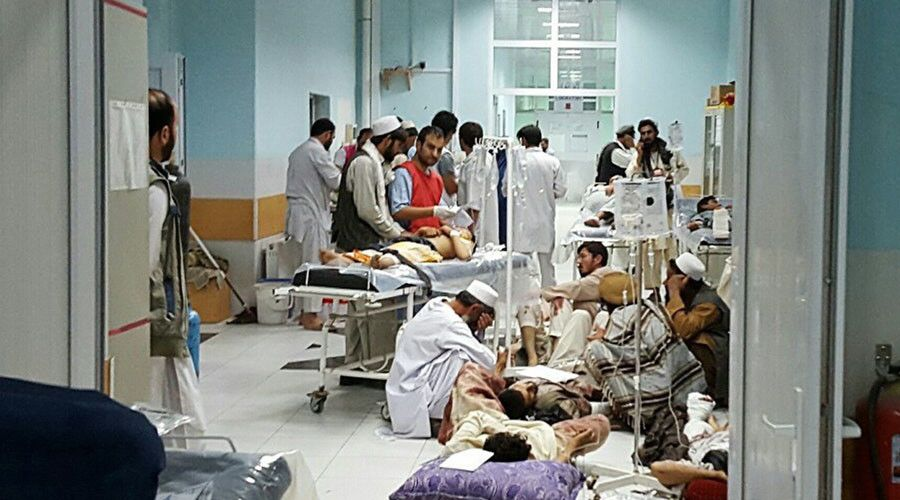 US says Afghans requested airstrike that struck Kunduz hospital http://sumo.ly/88oI  In this undated photograph released by Medecins Sans Frontieres (MSF) on October 3, 2015, Afghan MSF medical personnel treat civilians injured following an offensive against Taliban militants by Afghan and coalition forces at the MSF hospital in Kunduz. © MSF