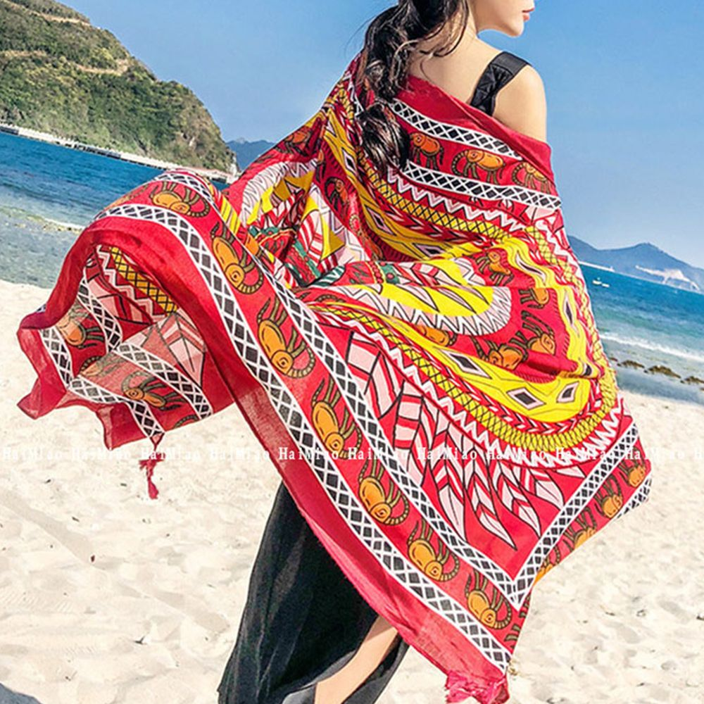 2745e1ae3caf1 Beach Cover Ups For Women s Swimsuit 2018 Sunscreen Beach Scarf Print  Oversized Chiffon Scarf Pareo Wrap Sarong