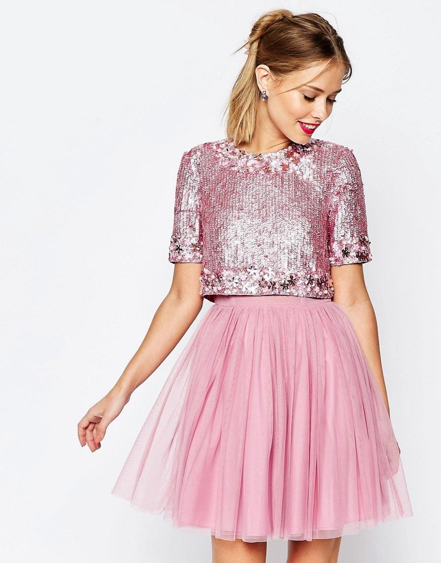 Lovely pink skater dress with tutu skirt and sequin crop top. I am ...