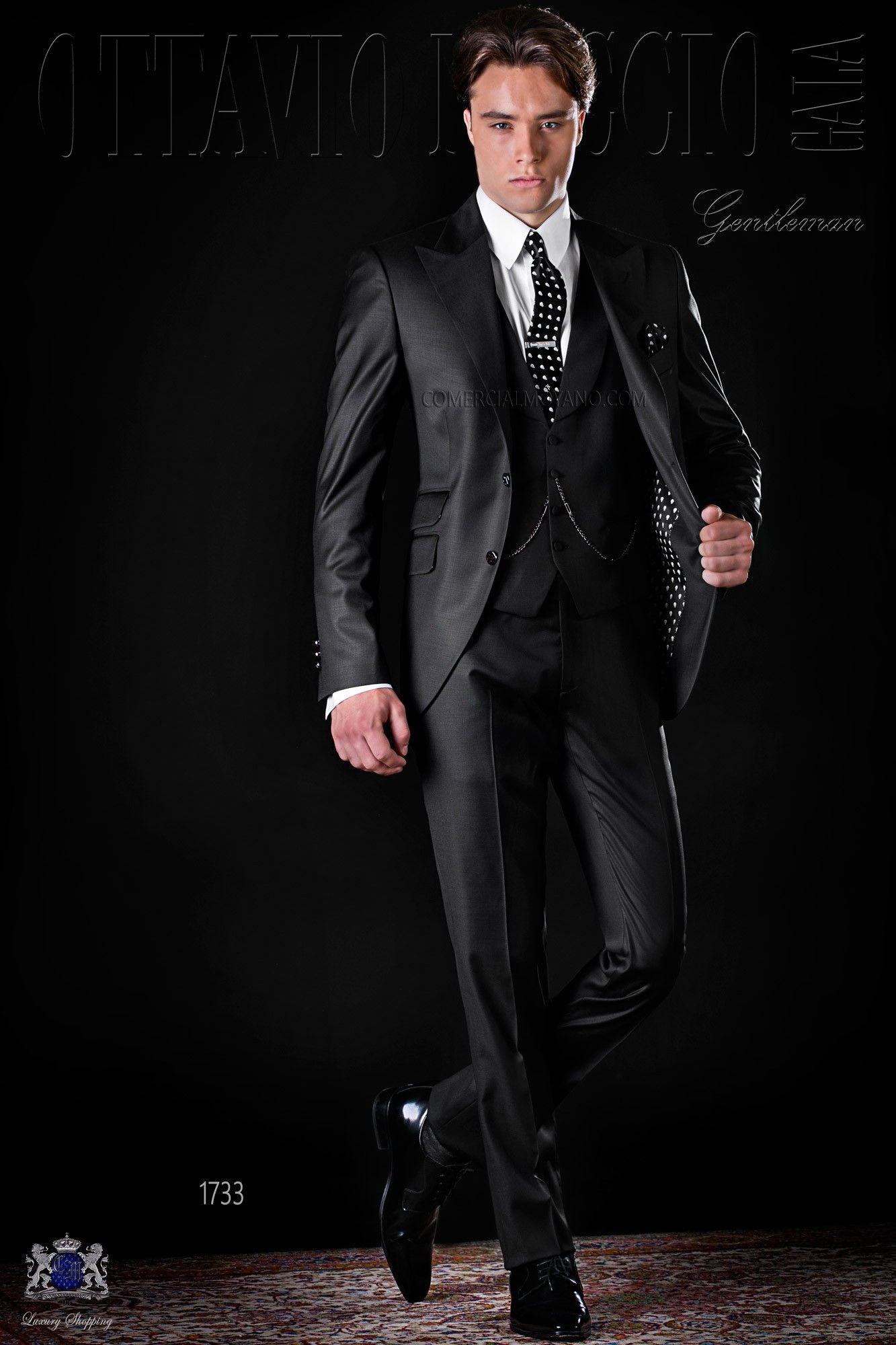 schwarze herren anzug aus cool wolle italienische m nner hochzeitsanz ge 2017 ottavio nuccio. Black Bedroom Furniture Sets. Home Design Ideas