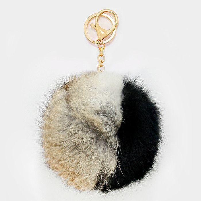 X-Large Rabbit Fur Two Tone Pom Pom Keychain cbb1ac713fb6b