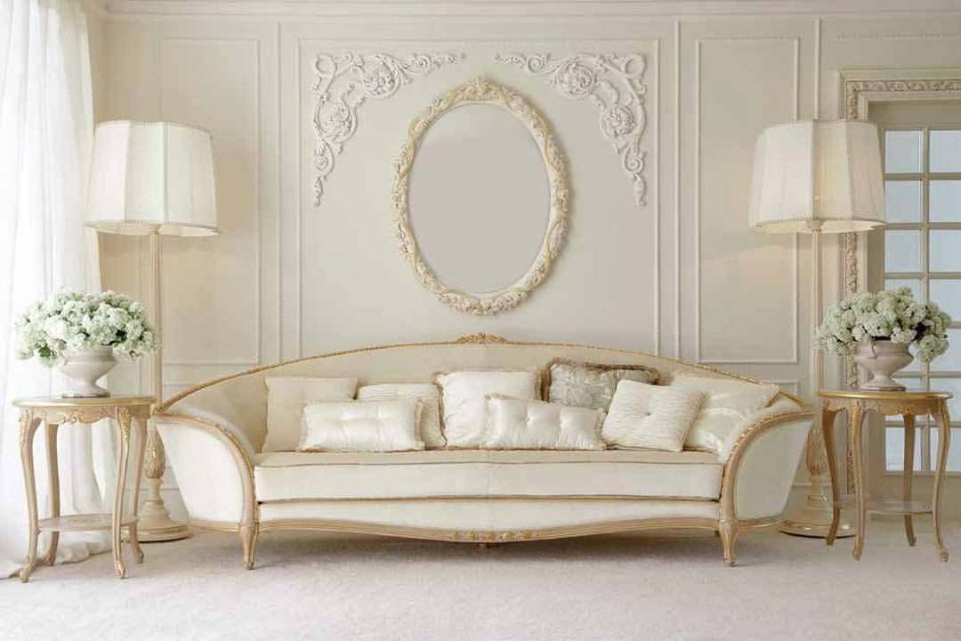 Luxury Italian Ivory Louis Reproduction Sofa At Juliettes Interiors    Chelsea, London.