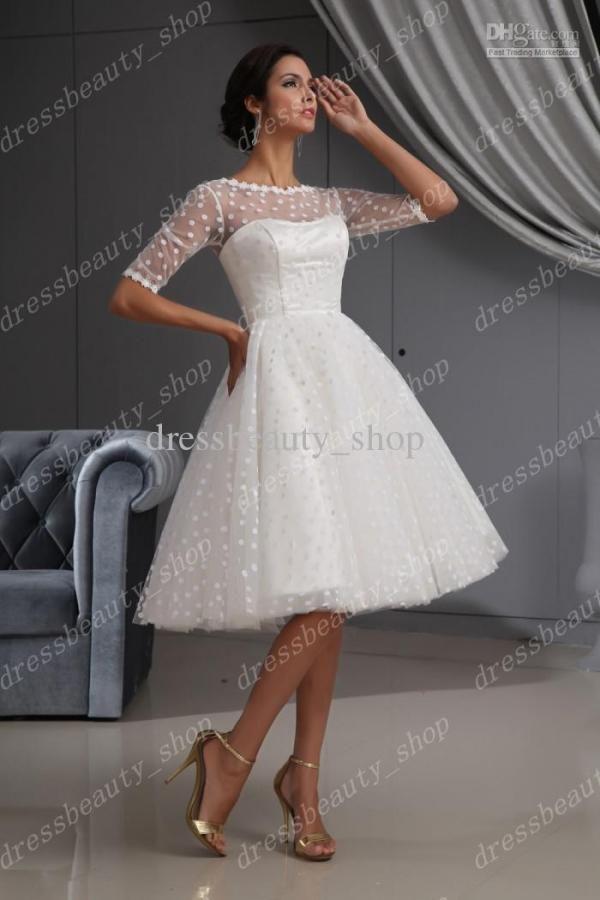 2013 Elegant Dotted Tulle Lace Hem Short Knee Length Wedding ...