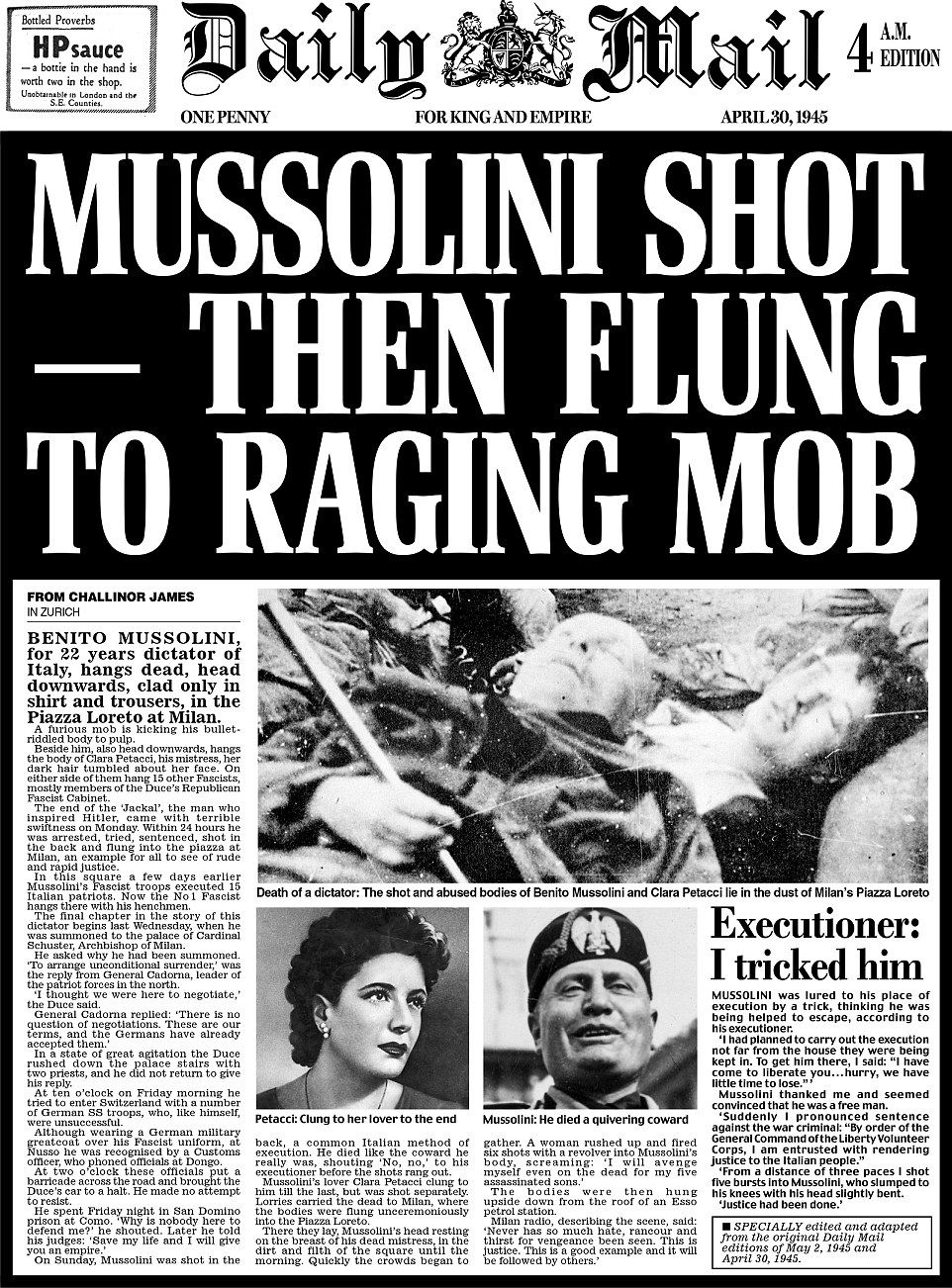 Daily Mail pages from day Adolf Hitler died 70 years ago this week