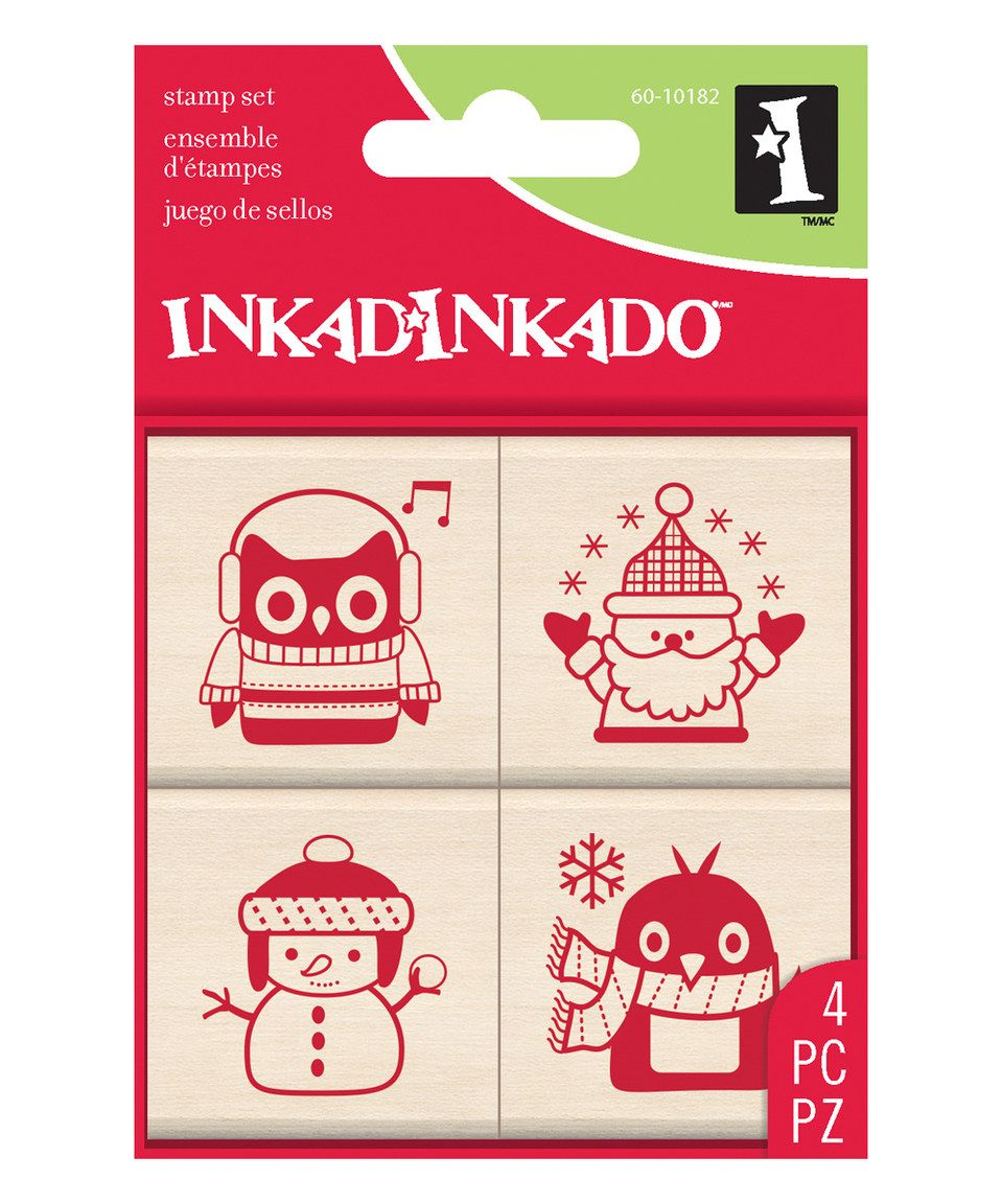 This Holiday Friends Wood Four-Piece Stamp Set by Inkadinkado is perfect! #zulilyfinds