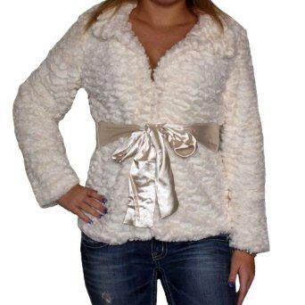 Furry Jacket with Bow Tie $35.00