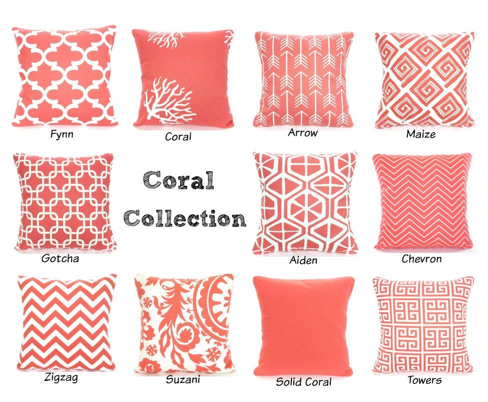 Coral Throw Pillow Covers, Decorative Throw Pillows