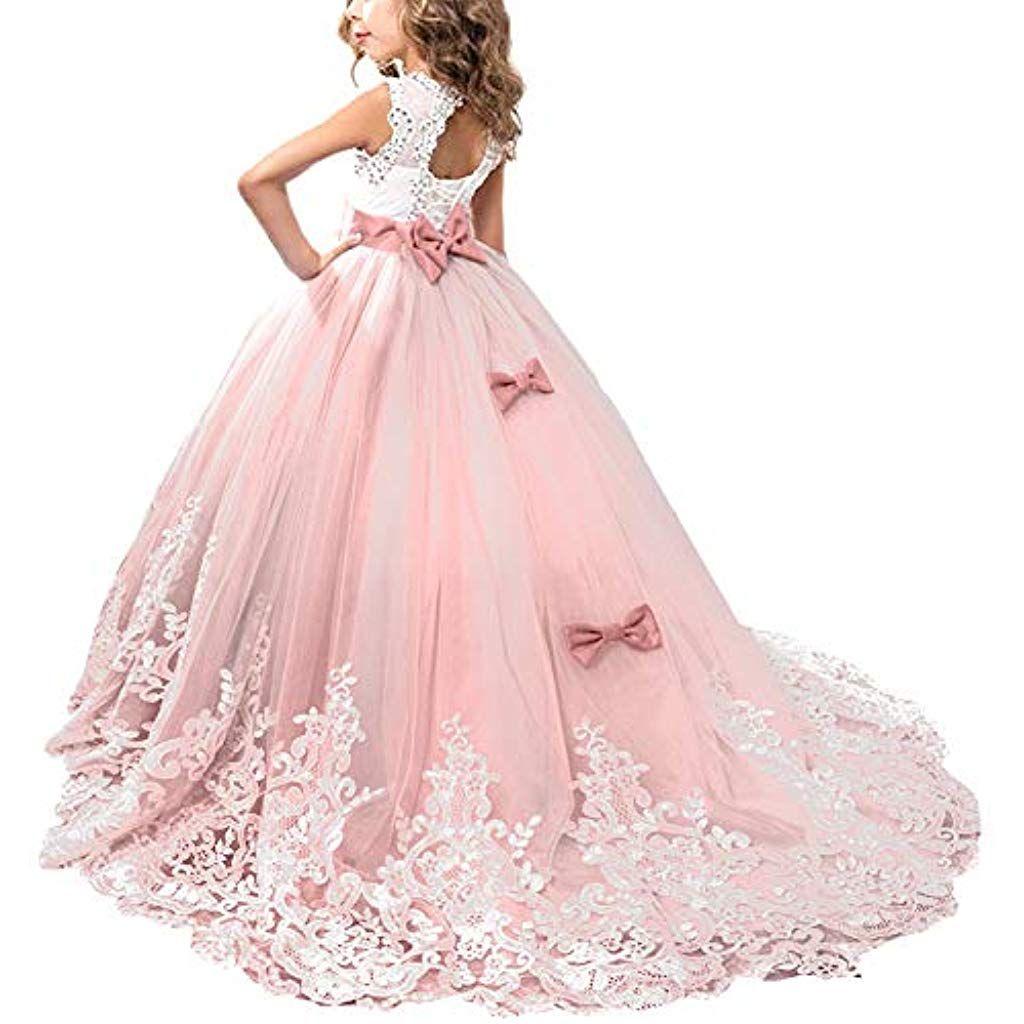 OBEEII Mädchen Prinzessin Kleid Ärmellos Festlich Elegante Tüll