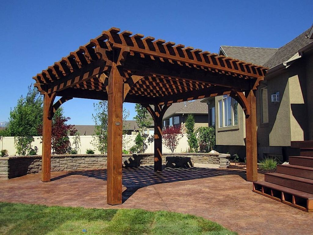 Solid wood timber frame DIY pergola kit with an Early American timber stain  from Western Timber Frame. - Pergola Kits (landing Page) Patios, Porches And Pavillions
